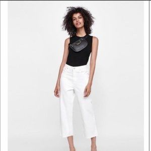 ZARA Premium High Waisted Culotte Jeans White